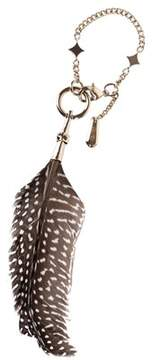 Roberto Cavalli Brown Speckled Feather Star Charm Key Chain