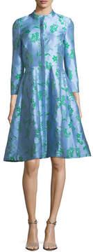 Carolina Herrera Button-Front 3/4-Sleeve Floral-Printed Dress