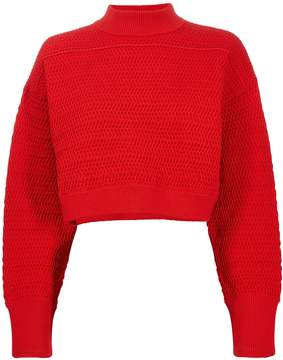 3.1 Phillip Lim Red Knit Cropped Sweater