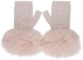 Yves Salomon Ivory Cashmere and Fur Mittens
