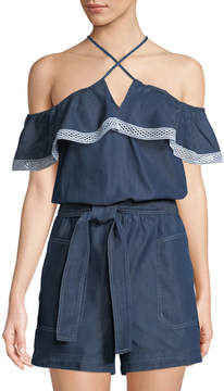 Laundry by Shelli Segal Belted Chambray Cold-Shoulder Romper