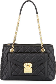 Love Moschino Quilted Faux-Leather Shoulder Bag