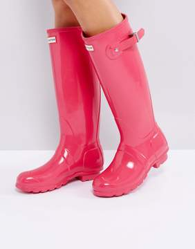 Hunter Tall Bright Pink Gloss Wellington Boots