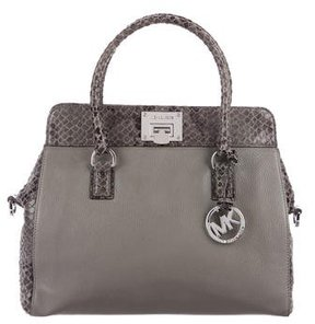MICHAEL Michael Kors Embossed Leather Satchel - GREY - STYLE