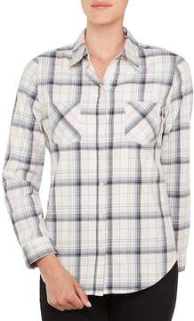 Allison Daley Roll-Tab Sleeve Plaid Button Front Shirt