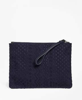 Brooks Brothers Eyelet Cotton Clutch