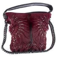 Roberto Cavalli Regina Medium Radiant Studded Red Leather Hair Hobo Bag