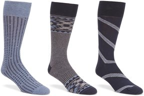 Roundtree & Yorke Big & Tall Tribal Combo Crew Dress Socks 3-Pack