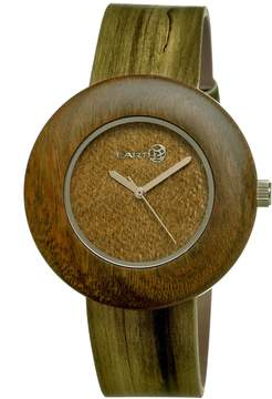 Earth Ligna Raw Wood Dial Olive Leather Unisex Watch