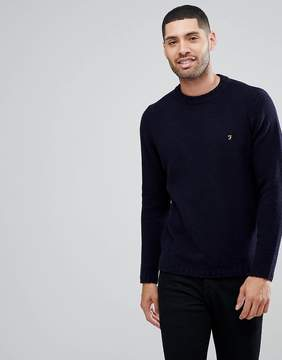 Farah Harley Slim Fit Textured Knitted Sweater In Navy
