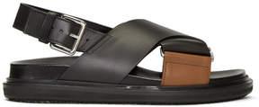 Marni Black and Brown Fussbett Sandals