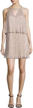 Ella Moss Women's Cerine Metallic Tiered Keyhole Dress