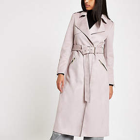 River Island Light purple faux suede belted trench coat