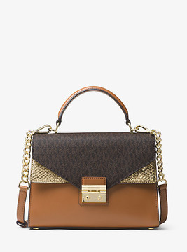 Michael Kors Sloan Logo And Leather Satchel - BROWN - STYLE