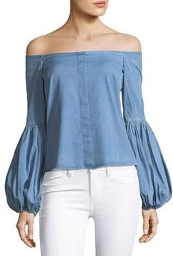 Caroline Constas Gisele Off-the-Shoulder Blouse, Blue