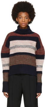 Chloé Multicolor Chunky Striped Turtleneck