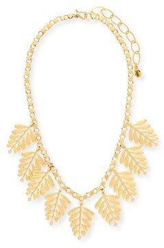 Sequin Golden Leaf Statement Necklace