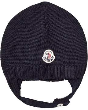 Moncler Navy Beanie With Chin Strap