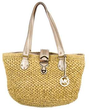 Michael Kors Michael Leather-Trimmed Raffia Tote