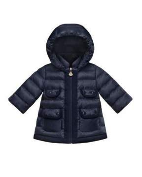 Moncler Maevant Quilted Coat, Navy, Size 12M-3T
