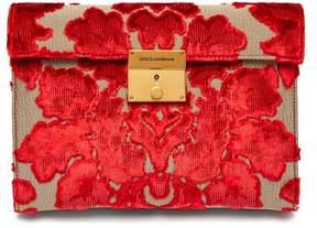 Dolce & Gabbana Pochette Velvet Brocade Envelope Clutch - Womens - Red Gold