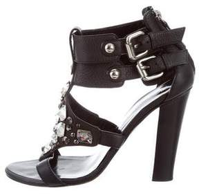 Balmain Leather Jewel-Embellished Sandals