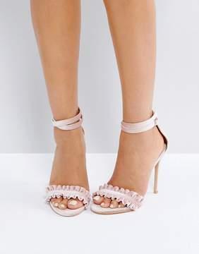 Public Desire Phoenix Nude Ruffle Heeled Sandals