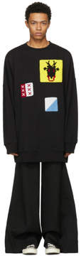 J.W.Anderson Black Oversized Crochet Patches Sweatshirt