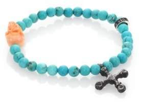 King Baby Studio Turquoise Bead & Conch Shell Skull Bracelet