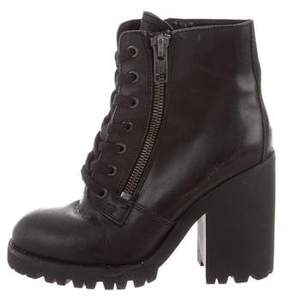 Ash Leather Lace-Up Ankle Boots