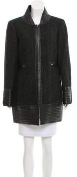 Chanel Leather-Trimmed Herringbone Coat