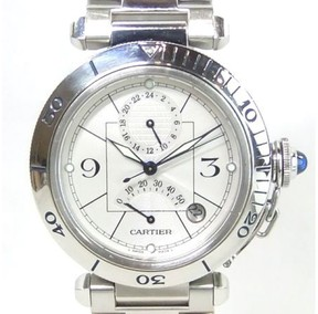 Cartier Pasha GMT Stainless Steel Automatic 38mm Mens Watch