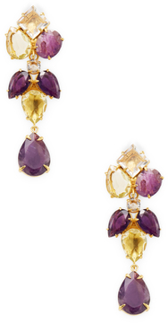 Bounkit Women's Amethyst & Quartz Cluster Convertible Drop Earrings