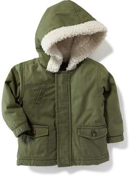 Old Navy Hooded Canvas-Sherpa Anorak for Baby