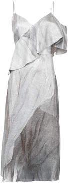 Christian Siriano one shoulder ruffled dress
