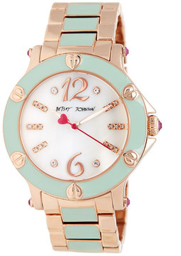 Betsey Johnson Women's Blissful Mint Enamel Bracelet Watch