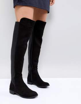 London Rebel Elastic Flat Over Knee Boot