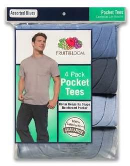 Fruit of the Loom Big Men's Assorted Color Pocket T Shirts, 4 Pack