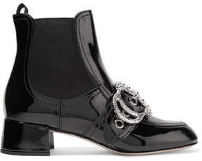 Miu Miu Embellished Patent-leather Ankle Boots - Black