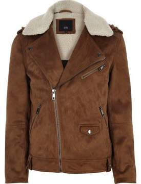 River Island Mens Tan faux suede fleece biker jacket