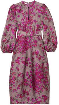Co Belted Floral-jacquard Midi Dress - Magenta