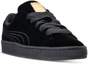 Puma Girls' Basket Classic Velour Casual Sneakers from Finish Line