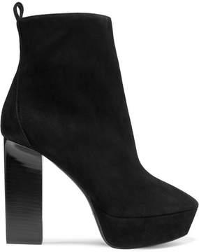 Saint Laurent Vika Suede Platform Ankle Boots - Black