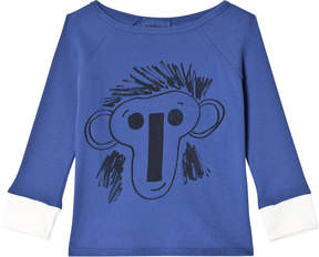 Bobo Choses Jubilee Blue Face Motif Three Quarter Sleeve T-Shirt