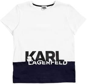 Karl Lagerfeld Logo Printed Cotton Jersey T-Shirt