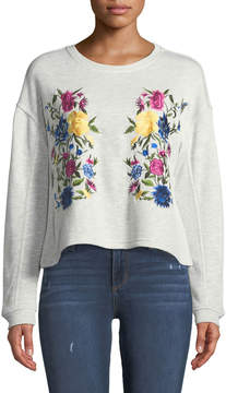Chelsea & Theodore Floral-Embroidered Crop Sweatshirt