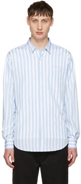 Ami Alexandre Mattiussi Blue Striped Wide Shirt