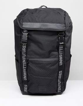 Asos Backpack In Black With Slogan Webbing Design