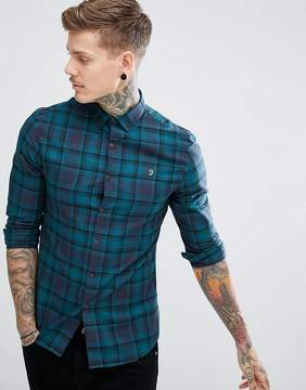 Farah Waithe Slim Fit Check Shirt in Navy