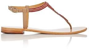 Barneys New York Women's Beaded Leather T-Strap Sandals
